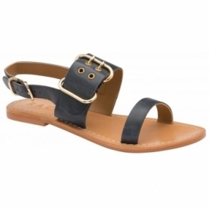 Navy Neath Leather Flat Sandals | Ravel