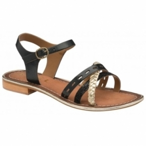 Black Cudal Leather Flat Sandals | Ravel