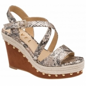 Taupe Snake-Print Yeoval Open-Toe Wedge Sandals | Ravel