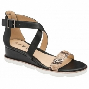 Black/Taupe Junee Wedge Sandals | Ravel