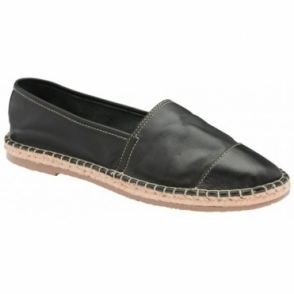 Black Bargo Leather Slip-On Shoes | Ravel