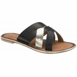 Black Heddon Leather Mule Sandals | Ravel