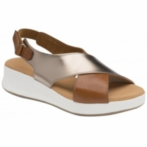 Tan/Gold Winton Leather Slingback Sandals | Ravel