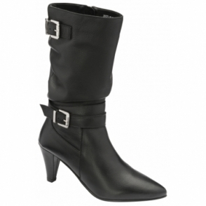 Black Guisa Milled Leather Mid-Calf Boots | Ravel