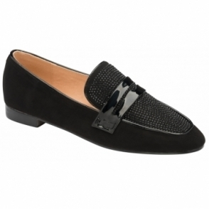 Black & Diamante Luis Loafers | Ravel