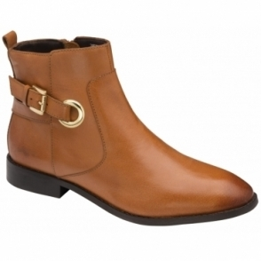 Dark Tan Mariel Leather Ankle Boots | Ravel