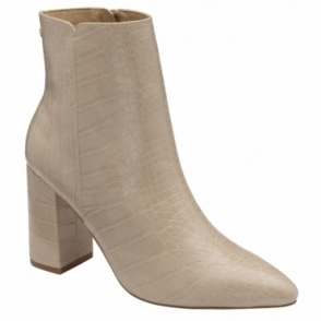 Beige Croc-Print Soriano Ankle Boots | Ravel
