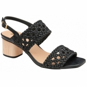 Black Kimia Heeled Sling-Back Sandals | Ravel