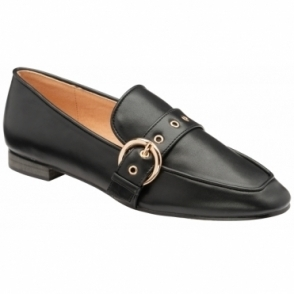 Black Ramona Almond-Toe Loafers  | Ravel