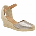 Silver Etna Metallic Leather Espadrille Wedge Sandals | Ravel