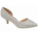 Silver Doral Kitten Heel Court Shoes | Ravel