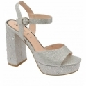 Silver Delray Platform Heeled Sandals | Ravel