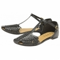 Black Calhoun Leather Flat Sandals | Ravel