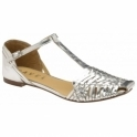 Silver Calhoun Leather Flat Sandals | Ravel
