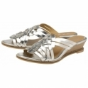 Silver Marion Leather Mule Wedge Sandals | Ravel