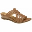 Tan Marion Leather Mule Wedge Sandals | Ravel