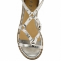 Silver Duval Leather Wedge Sandals | Ravel