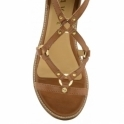 Tan Duval Leather Wedge Sandals | Ravel