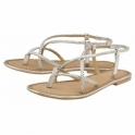 Silver Holmes Leather Flat Sandals | Ravel