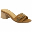 Tan Baker Suede Mule Sandals | Ravel