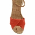 Red Palmer Suede Peep-Toe Wedge Sandals | Ravel