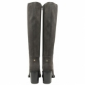 Grey Albury Suede Heeled Knee-High Boots | Ravel