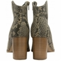 Snake Print Foxton Leather Heeled Ankle Boots | Ravel