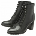 Black Marco Leather Heeled Ankle Boots | Ravel
