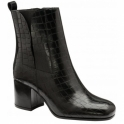 Black Wellsford Leather Heeled Ankle Boots | Ravel