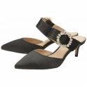 Black Marsden Satin Kitten-Heel Slip-On Shoes | Ravel