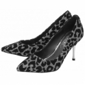 Silver Sparkle Sefton Leopard-Print Court Shoes | Ravel