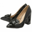 Black Croc-Print Lincoln Block Heeled Court Shoes | Ravel