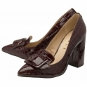 Burgundy Croc-Print Lincoln Block Heeled Court Shoes | Ravel