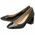 Black Barton Patent Block Heel Court Shoes | Ravel