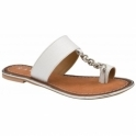 White Croc-Print Taree Leather Mule Sandals | Ravel