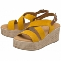 Yellow Wilga Suede Wedge Sandals | Ravel