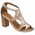 Rose Gold Coreen Leather Heeled Sandals | Ravel