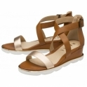 Rose Gold/Tan Junee Wedge Sandals | Ravel