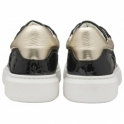Black/Champagne Tully Leather Trainers | Ravel