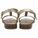 Gold Metallic Kandos Leather Flat Sandals | Ravel