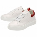 Soft White/Red Tully Leather Trainers | Ravel