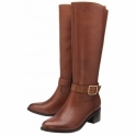 Cognac Lajas Leather Knee High Boots | Ravel
