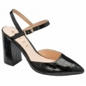 Black Croc-Print Zaza Patent Court Shoes | Ravel