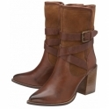 Tan Santiago Leather & Suede Mid-Calf Boots | Ravel