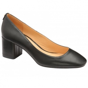 Black Barton Block Heel Court Shoes | Ravel