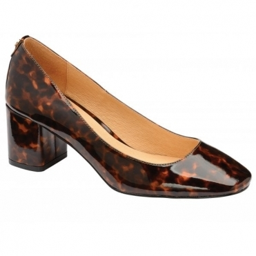Tortoiseshell Barton Patent Block Heel Court Shoes | Ravel