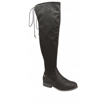 Black Hartford Leopard-Print Stretch Knee-High Boots | Ravel