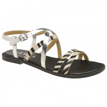 Zebra Manatee Leather Flat Sandals | Ravel