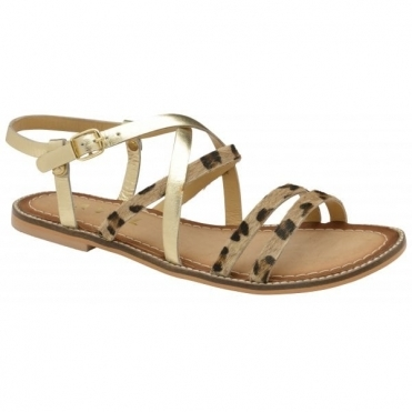 Leopard Manatee Leather Flat Sandals | Ravel