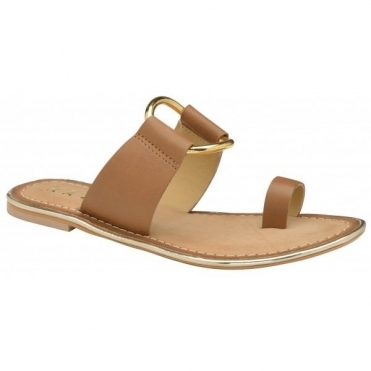 Tan Franklin Leather Flat Sandals | Ravel
